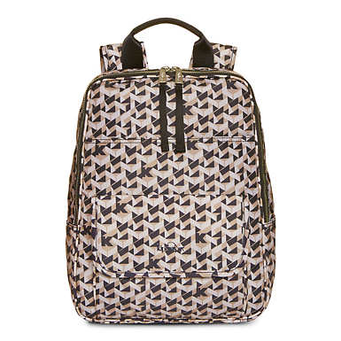 Sandra Large Printed Laptop Backpack - Optic Beige Multi