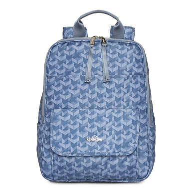 Sandra Large Printed Laptop Backpack - Optic Blue