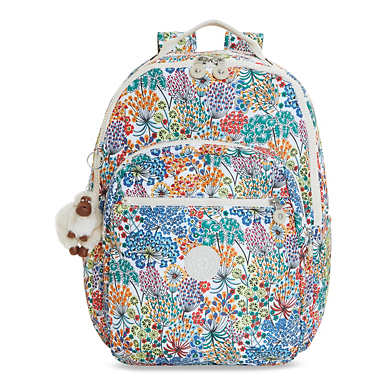 Seoul Large Printed Laptop Backpack - Little Flower Blue