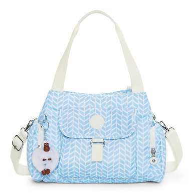 Felix Printed Handbag - Chevron Pool Blue
