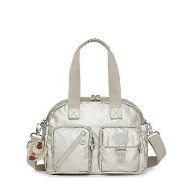 Defea Metallic Handbag - Silver Beige Snake