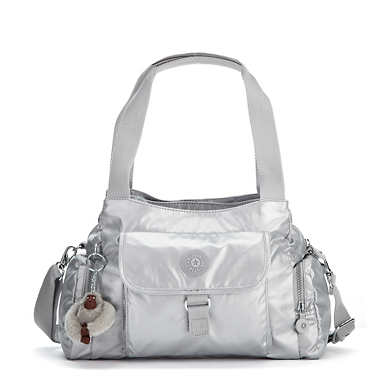 Felix Large Metallic Handbag - Platinum Metallic