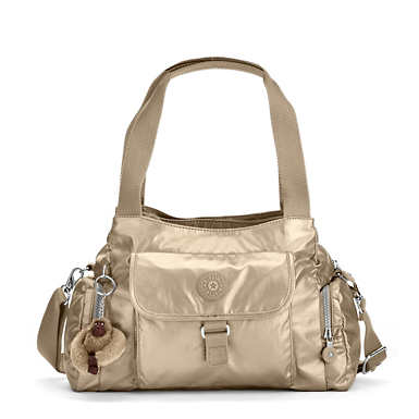 Felix Large Metallic Handbag - Toasty Gold