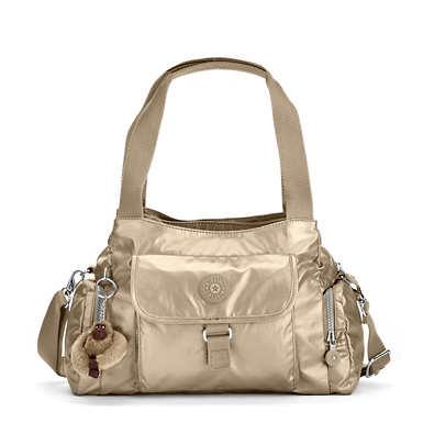 Felix Large Metallic Handbag - Toasty Gold