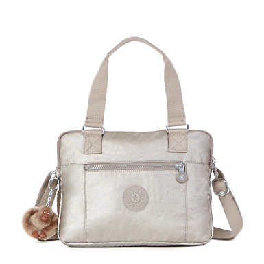 Brent Metallic Double Compartment Handbag - Metallic Pewter