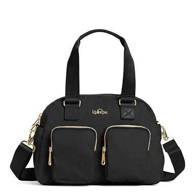 Defea Handbag - Black Crosshatch