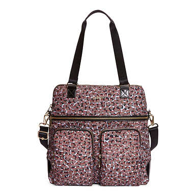 Camryn Printed Laptop Handbag - Graphic Animal Brown