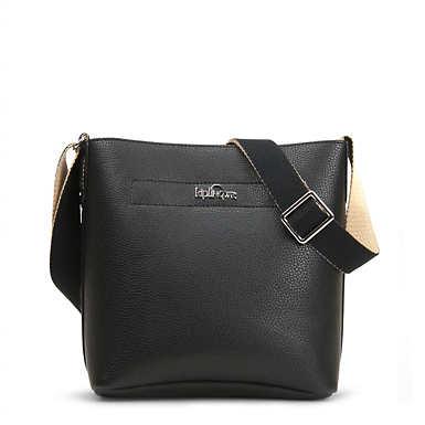 Isla Vegan Leather Bucket Bag - Black