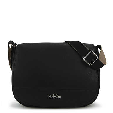 Louna Vegan Leather Saddle Bag - Black
