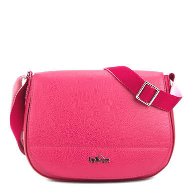 Louna Vegan Leather Saddle Bag - Spring Red