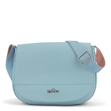 Louna Vegan Leather Saddle Bag - Shell Blue
