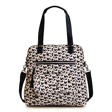 Camryn Printed Laptop Handbag - Optic Beige Multi