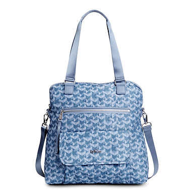 Camryn Printed Laptop Handbag - Optic Blue