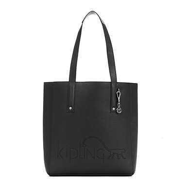 Ansley Vegan Leather Tote Bag - Black/Metallic Pewter Combo
