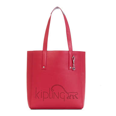 Ansley Vegan Leather Tote Bag - Scarlet/Metallic Pewter Combo