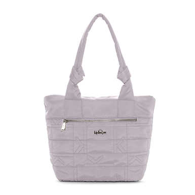 Lipe Quilted Tote Bag - Slate Grey Plaid Combo