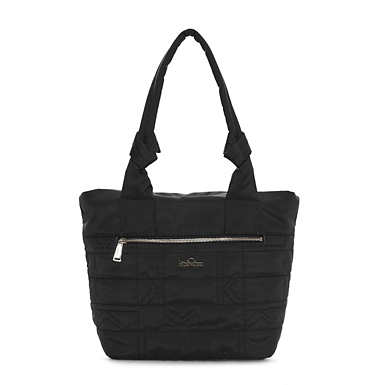 Lipe Quilted Tote Bag - Black Plaid Combo