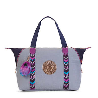 Art M Tote Bag - Grey Embossed Blue