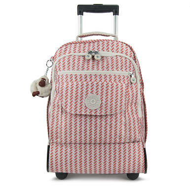 Sanaa Printed Wheeled Backpack - Zest Pink