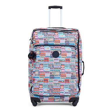 Darcey Large Printed Wheeled Luggage - Hello Weekend