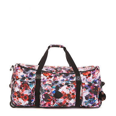 Discover Large Printed Wheeled Luggage Duffle Bag - Wild Flower