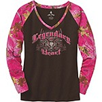 Ladies Legendary At Heart Pink Camo V-Neck Shirt