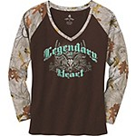 Ladies Legendary At Heart Camo V-Neck Shirt