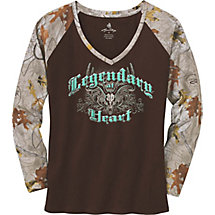 Ladies Legendary At Heart Camo V-Neck Shirt at Legendary Whitetails