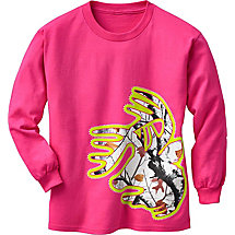 Girls Big Game Camo Buck Long Sleeve T-Shirt at Legendary Whitetails
