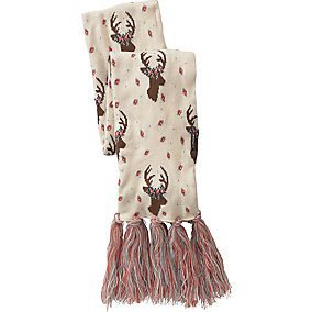 Ladies Happy Glamper Floral Deer Scarf