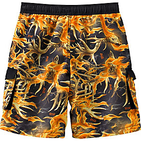 Boys Whitewater Blaze Camo Cargo Swim Trunks