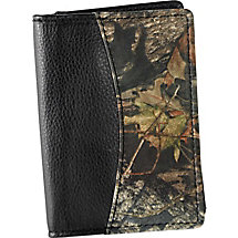 Mens Mossy Oak Camo Black Leather Weekender Wallet at Legendary Whitetails