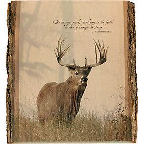 Natural Wood Bible Verse Buck Wall Art