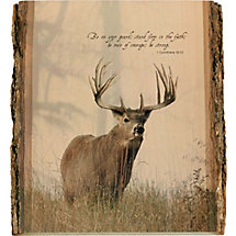 Natural Wood Bible Verse Buck Wall Art at Legendary Whitetails