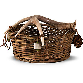 Woven Basket with Deer Antler Handle