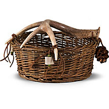 Woven Basket with Deer Antler Handle at Legendary Whitetails