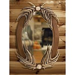 Deer Antler Oval Mirror
