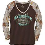 Ladies Legendary At Heart Camo V-Neck Shirt at Legendary Whitetails