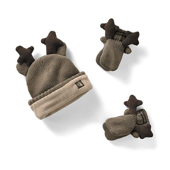 Toddler Knit Deer Hat & Mitten Set at Legendary Whitetails