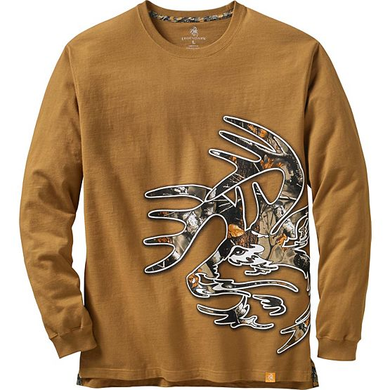 Men's Big Game Camo Buck Long Sleeve T-Shirt at Legendary Whitetails