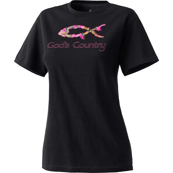 Ladies God's Country Camo Harvester Tee at Legendary Whitetails