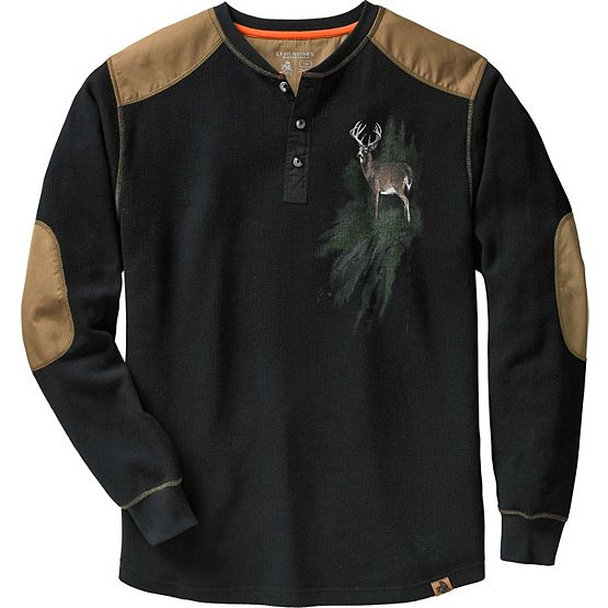 Men's Long Sleeve Cotton Thermal Commando Henley at Legendary Whitetails