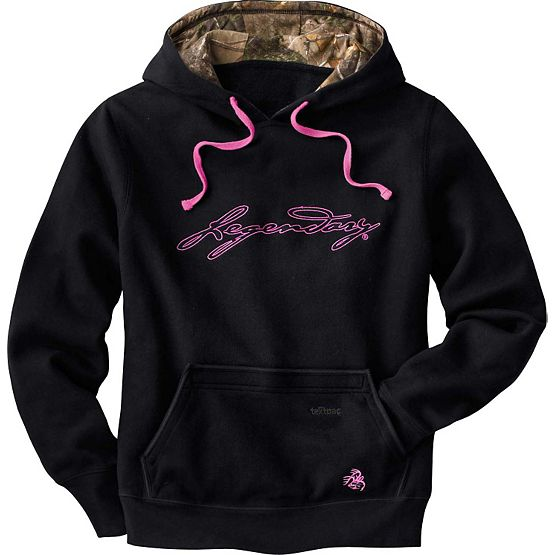 Women's Black Camo Lined Heartbeat Hoodie at Legendary Whitetails