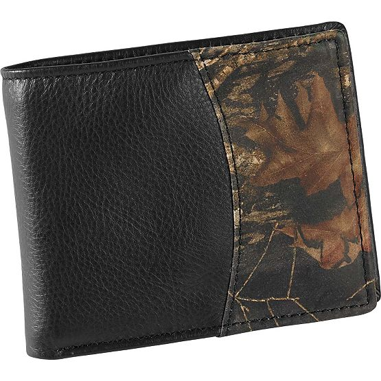 Men's Mossy Oak Black Leather Billfold Wallet at Legendary Whitetails