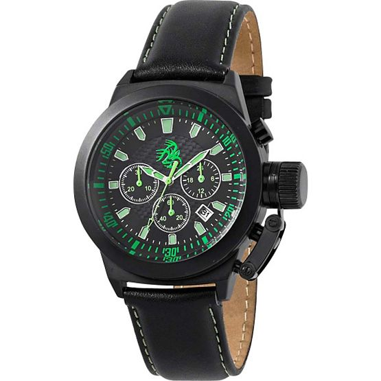 Men's Midnight Navigator Black Leather Watch at Legendary Whitetails