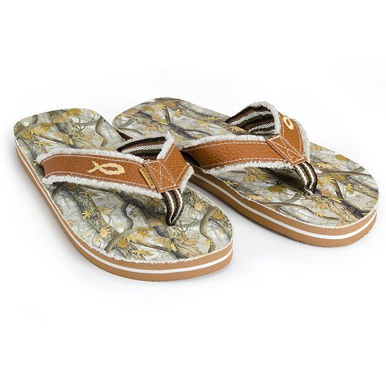 God's Country Camo Footprint Flip Flops at Legendary Whitetails