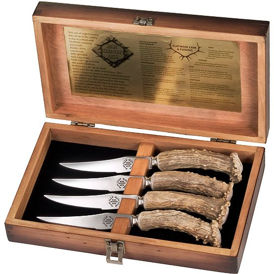 4 Steak Knives In Wood Box at Legendary Whitetails