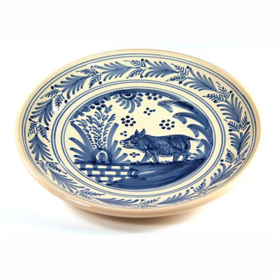 Hand-Painted Golondrina Plate, Wild Boar Design - 11 Inches