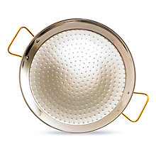 15 Inch Stainless Steel Paella Pan with Gold Plated Handles