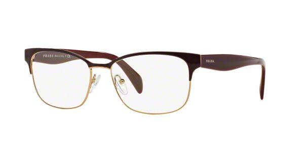 PR 65RV: Shop Prada Red/Burgundy Rectangle Eyeglasses at ...